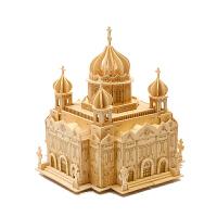 拼图 木制立体拼图3d高难度木质建筑手工制作木头模型超大城堡 BX
