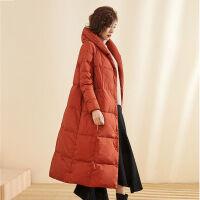 冬装白鸭绒羽绒服女中长款过膝文艺民族风显瘦羽绒冬装外套 M (90-120斤)