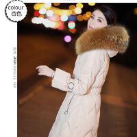 白鸭绒羽绒服女中长款韩版修身显瘦连帽大毛领2019冬装外套潮