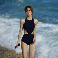 韩国泳衣女保守连体遮肚显瘦性感高领露背镂空小胸度假泡温泉泳衣 黑色 S