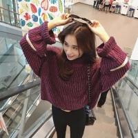 高领毛衣女学生韩版宽松套头短款针织衫秋冬加厚粗毛线高领灯笼袖