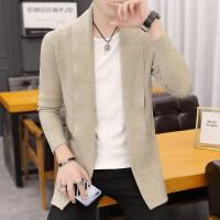 男秋季新款纯色针织开衫韩版修身男士线衫外套潮流男装帅气上衣服