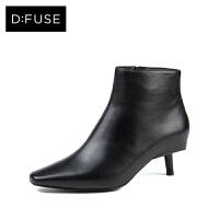 D:Fuse/迪芙斯秋冬款牛皮小方头猫跟高跟短靴女鞋DF74116025