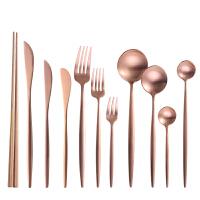 葡萄牙玫瑰金拉丝不锈钢西餐餐具牛排刀叉子勺子筷子咖啡勺全套装 玫瑰金-11件套 每款一支