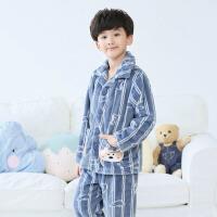 儿童珊瑚绒睡衣男冬季家居服秋冬男孩法兰绒男童套装大童