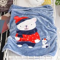 儿童毛毯加厚冬季用珊瑚绒毯子女婴儿宝宝午睡盖毯保暖床单小被子 110*140cm(双层加厚约2.2斤)