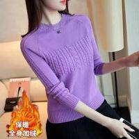 秋冬女装圆领长袖针织衫加厚毛衣套头打底衫修身短款上衣潮 S 80-95