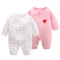 连体衣秋冬季棉初生0-3-6个月婴儿衣服女宝宝爬爬服哈衣