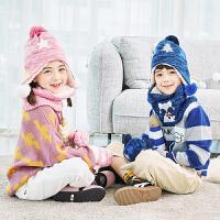 儿童帽子围巾手套三件套一体围脖男女宝宝套装秋冬