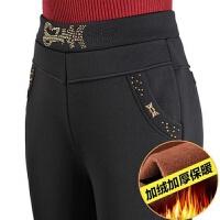 中老年女士妈妈裤子秋季加绒厚款松紧腰女裤弹力中年休闲女装长裤