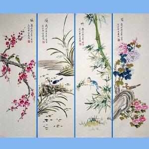 北京市美协会员,北京著名工笔画家凌雪(梅兰竹菊)2