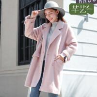 芊艺毛呢外套女中长款韩版秋冬新款显瘦加厚气质双排扣呢子大衣