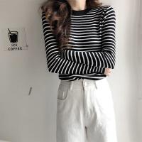 秋冬毛衣女士条纹修身显瘦针织衫半高领百搭打底衫 S 建议80-95斤
