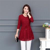 秋冬季中年人女装加绒蕾丝衫妈妈装打底衫长袖上衣中长款修身小衫