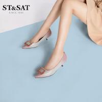 St&Sat/星期六尖头扣饰浅口单鞋优雅婚鞋低跟女鞋SS01111067