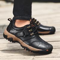男鞋潮流户外休闲鞋牛皮鞋子百搭登山鞋防滑中老年爸爸鞋