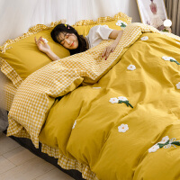 水洗棉四件套全棉纯棉少女心公主风床单被套被子三件套床上用品4