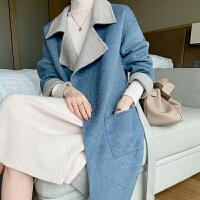 100%纯羊毛双面呢大衣女中长款腰带款宽松韩版AB面羊绒大衣毛呢外套