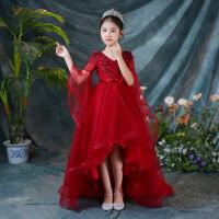 儿童走秀晚礼服花童公主裙蓬蓬纱钢琴演出服女童小主持人长袖拖尾 酒红色 拖尾