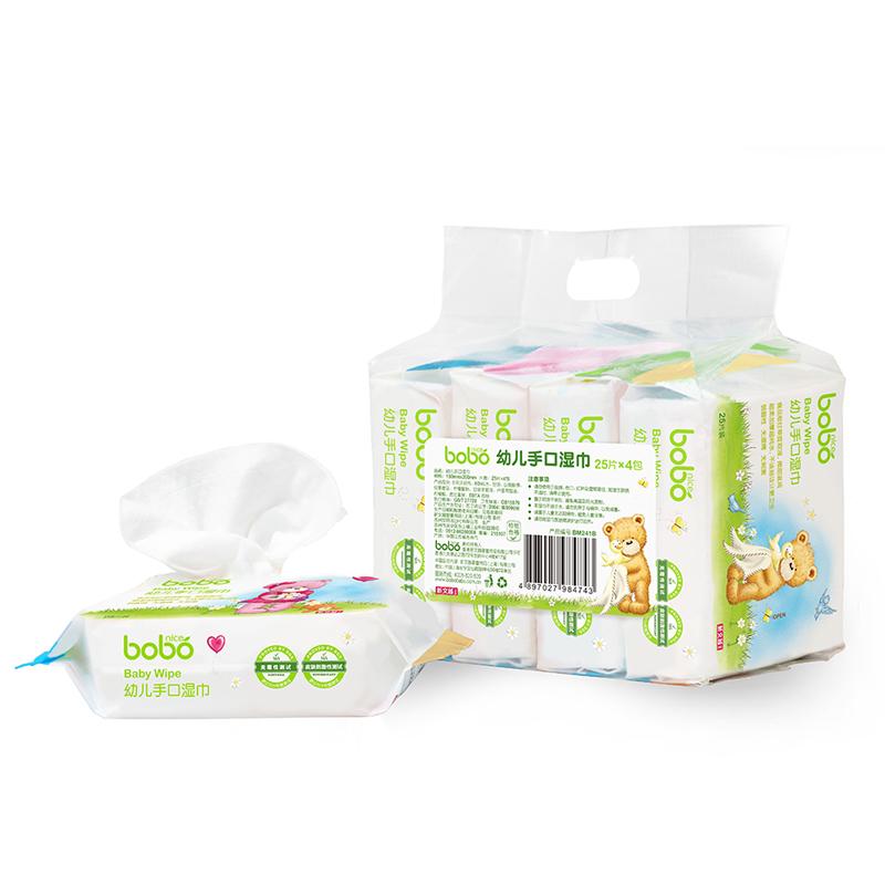 【当当自营】bobo乐儿宝 手口湿巾湿纸巾25片*4包 BM241