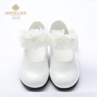 儿童皮鞋女公主鞋花童礼服小皮鞋白色演出单鞋女孩平底鞋牛皮