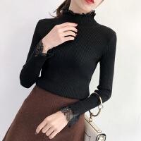 蕾丝拼接修身针织衫女秋冬装2019长袖韩版彷毛衣打底衫上衣 黑色