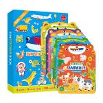 英文原版进口 手提果冻贴纸书Fun Sticker Book 23456岁儿童早教趣味启蒙贴纸书(全8册)