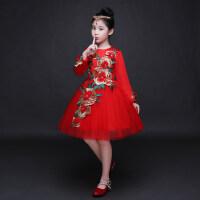 儿童演出服公主裙女童礼服裙钢琴表演服红色长袖小花童主持人秋季 红色单款