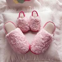秋冬亲子保暖加绒棉拖鞋女童防滑小公主室内儿童软底家居鞋