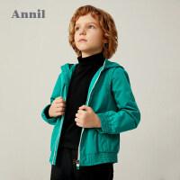 【3件3折】专柜同款安奈儿男童秋装外套儿童夹克拉链开衫2020新款中大童韩版潮上衣3