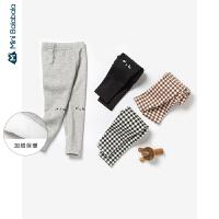 迷你巴拉巴拉儿童裤子女童加绒保暖打底裤2019冬新款格纹修身长裤