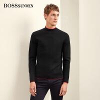 BOSSSUNWEN男士羊毛衫2018秋新品羊毛纯色套头打底针织衫上衣毛衣