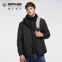 【顺心而行】诺诗兰新款户外冲锋衣男式潮牌保暖摇粒绒外套GS065911