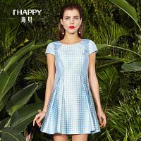 【2件5折】海贝新款经典格子裙子显瘦短袖连衣裙