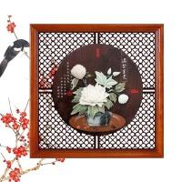 沐坤 天然玉雕画装饰画中式客厅壁画卧室餐厅书房办公室实木有框正方形装饰字画 60*60
