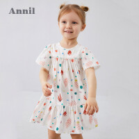 【2件5折:119.5】安奈儿童装女童连衣裙2020夏季新款宽松廓形轻薄女宝宝裙子透气