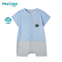 巴拉巴拉旗下MarColor马卡乐2019夏新品男童小立领绅士短袖连体服