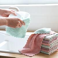 百露 超细纤维双面吸水抹布 加厚不掉毛不沾油洗碗巾厨房洗碗布小方巾颜色随机