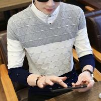 新款衬衣假两件男士毛衣青少年韩版修身潮流衬衫领套头拼色针织衫
