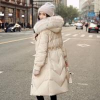 羽绒服女中长款冬季韩版大毛领收腰显瘦白鸭绒外套潮 米色 带毛领