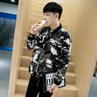 秋冬季男夹克短款外套韩版修身迷彩情侣休闲茄克棒球衫青年上衣潮