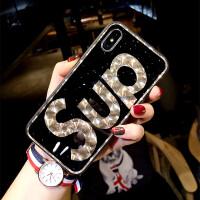 潮牌字母iphone6plus手机壳女挂绳苹果7保护套X防摔8日韩全包新款