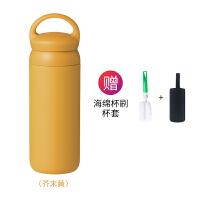 新款日本保温杯女简约水杯男士过滤便携磨砂随行咖啡杯子 芥末黄 500ml 手