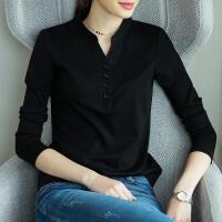 2019秋冬装黑色打底衫女长袖立领T恤百搭宽松体恤韩版v领上衣