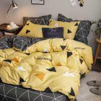 北欧风四件套全棉纯棉100床上用品三件套简约风4被套被子床单被罩