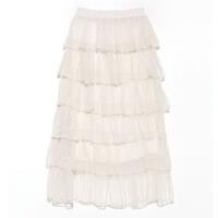 裙子女夏季装2018新款韩版纱裙白色网纱中长款高腰a字半身裙 杏色(六层) 身高165-170以上 均码