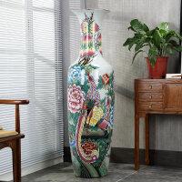 景德镇陶瓷花瓶手绘粉彩富贵长寿仿古落地大花瓶客厅礼品乔迁新居装饰品开业送人摆件礼物