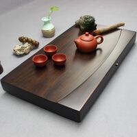 整块黑檀木茶盘实木茶台长方形简约家用茶海大号排水功夫茶具