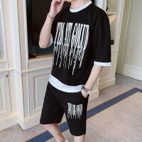 运动休闲两件套夏季短袖T恤男五分裤一套棉两件运动休闲套装青少年初中学生卫衣