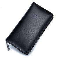 长款大容量多卡位*包风琴卡包男女士多功能手机护照包 黑色